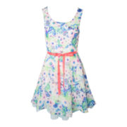 Pinky Floral Chiffon Dress – Girls 6-16 and Plus