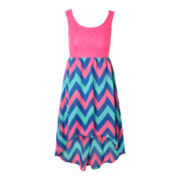 Pinky Lace Chiffon Chevron Dress – Girls 6-16 and Plus