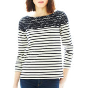 Joe Fresh™ Long-Sleeve Striped Lace Top