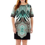 Studio 1® Elbow-Sleeve Print Sheath Dress - Plus