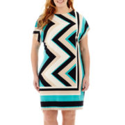 Studio 1® Short-Sleeve Zigzag Print Sheath Dress - Plus