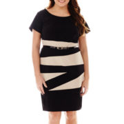 Alyx® Short-Sleeve Colorblock Sheath Dress - Plus