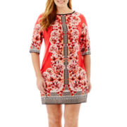 Studio 1® 3/4-Sleeve Floral Print Sheath Dress