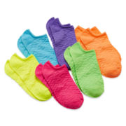 Total Girl® 6-pk. Textured No-Show Socks - Girls