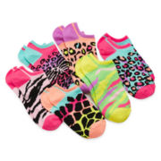 Total Girl® 6-pk. Animal Print No-Show Socks - Girls