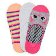 Total Girl® 3-pk. Cute Kitty High-Cut Liner Socks - Girls