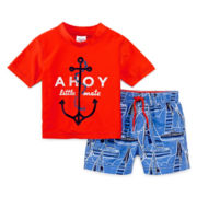 Carter's® 2-pc. Ahoy Rash Guard and Swim Shorts Set - Boys 3m-24m