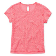 Arizona Short-Sleeve Lace Overlay Tee - Toddler Girls 2t-5t