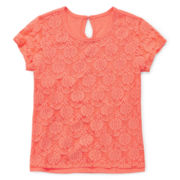 Arizona Short-Sleeve Lace Overlay Tee – Girls 4-6x