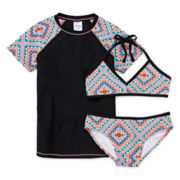 Tiki Beach Aztec 3-pc. Swim Set - Girls 7-16