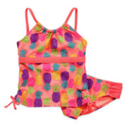 Angel Beach 2-pc. Coral Pineapple Tankini - Girls 7-16