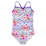 Malibu Chevron Flower Swimsuit - Girls Plus