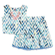 Knit Works Crop Top and Skirt Set – Girls 7-16