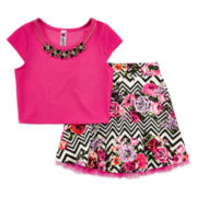 Knit Works Crop Top & Skirt Set – Girls 7-16