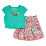 Knit Works 2-pc. Floral Crop Top and Skirt Set – Girls 7-16