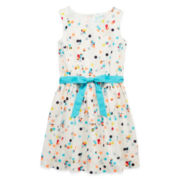 Arizona Sleeveless Polka Dot Voile Dress – Girls 7-16