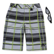 ZeroXposur® Plaid Swim Shorts and Goggles – Boys 8-20