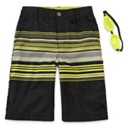 ZeroXposur® Striped Swim Shorts and Goggles - Boys 8-20