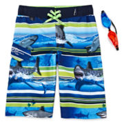 ZeroXposur® Shark-Print Swim Shorts and Goggles – Boys 8-20