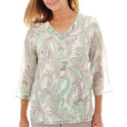 Alfred Dunner® High Tea 3/4-Sleeve Paisley Print Tunic Top