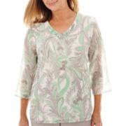 Alfred Dunner® High Tea 3/4-Sleeve Paisley Print Tunic Top