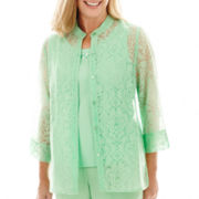 Alfred Dunner® High Tea 3/4-Sleeve Medallion Burnout Layered Top