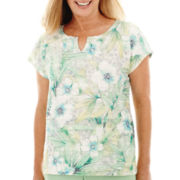 Alfred Dunner® High Tea Short-Sleeve Tropical Lace Top