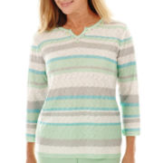 Alfred Dunner® High Tea 3/4-Sleeve Sequin-Striped Sweater