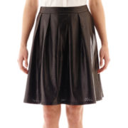 Worthington® Pleated Faux-Leather A-Line Skirt - Tall