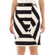 Worthington® Belted Geo-Print Sateen Skirt