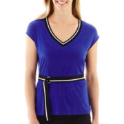 Worthington® Short-Sleeve Belted V-Neck Top