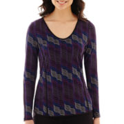 Worthington® Long-Sleeve Piped Tee - Tall