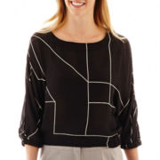 Worthington® 3/4-Sleeve Print Blouse