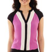 Worthington® Short-Sleeve Button-Front Colorblock Blouse