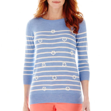 jcpenney.com | St. John's Bay® 3/4-Sleeve Jeweled Sweater - Tall