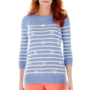 St. John's Bay® 3/4-Sleeve Embellished Sweater