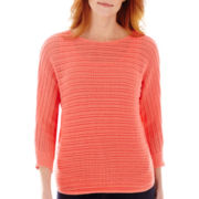 St. John's Bay® 3/4-Sleeve Pointelle Sweater - Tall
