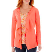 St. John's Bay® Long-Sleeve Knit Layered Flyaway Cardigan