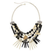 Mixit™ Black and Ivory Bead 5-Row Boho Bib Necklace