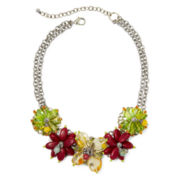 Aris by Treska Multicolor Stone Flower Statement Necklace