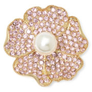 Monet® Pink Stone and Simulated Pearl Flower Pin