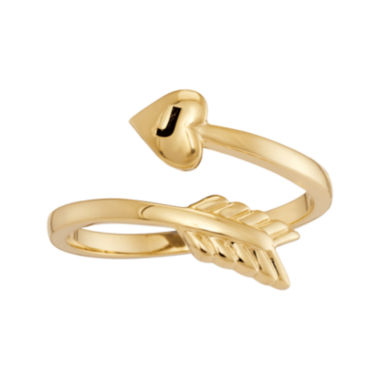 jcpenney.com | Personalized 10K Yellow Gold Bypass Arrow Initial Ring