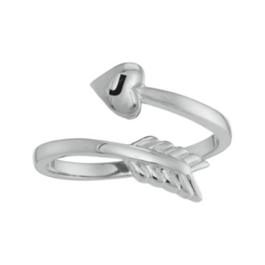 jcpenney.com | Personalized 10K White Gold Bypass Arrow Initial Ring