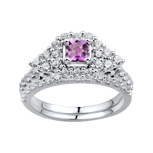 DiamonArt® Pink & White Cubic Zirconia Sterling Silver Bridal Ring Set