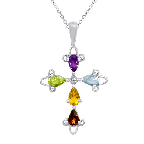 LIMITED QUANTITIES! Genuine Multi-Gemstone Sterling Silver Cross Pendant Necklace