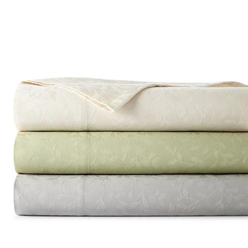 Westport Home 300tc Cotton Jacquard Leaf Set of 2 Pillowcases