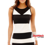 Bisou Bisou® Mesh-Trim Striped Tank Top