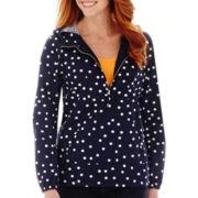 St. John's Bay® Polka Dot Popover Anorak Jacket - Tall