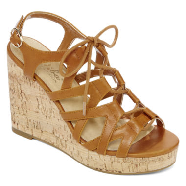 jcpenney.com | Diba® London Abbey Lace-Up Wedge Sandals