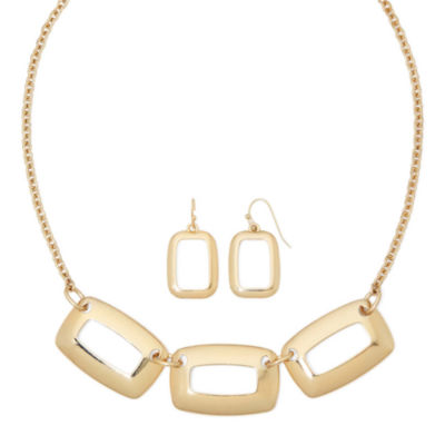 liz claiborne 174 open rectangle earring and necklace set